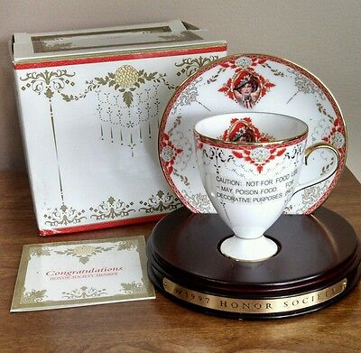 Avon Honor Society 1997 Mrs. P.F.E. Albee Commemorative Teacup & Saucer NIB
