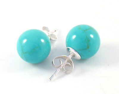 TURQUOISE Sterling Silver 10mm Ball Stud Earrings SIMPLE BLUE STUDS