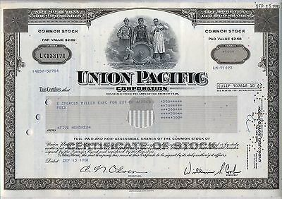 Union Pacific Railroad Corporation Stock Certificate Brown Utah Omaha