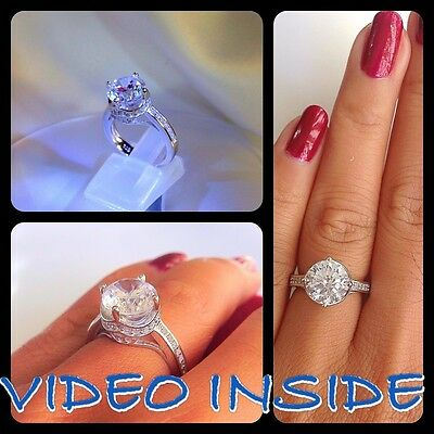 Brilliant In Crown 4.08CT Engagement Diamond Ring Platinum Finished