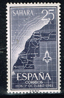 Sahara Spain colony African country map stamp 1961 MLH