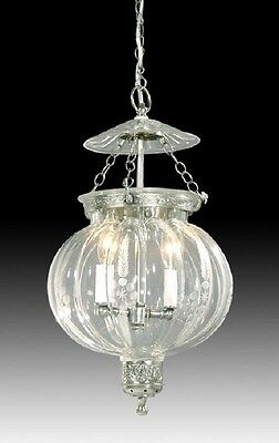 Bell Jar Lantern Light Chandelier Pendant Hall  Pewter Glass Antique Style