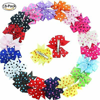 18 Pcs Girls Baby Kids Polka Dot  Grosgrain Ribbon Hair Bows Pinwheel Hair clips