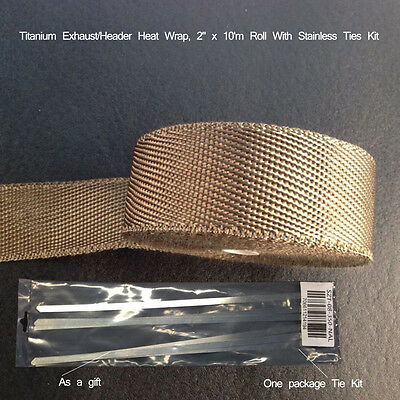"Titanium Exhaust/Header Heat Wrap, 2"" x 10m Roll With Stainless Ties Kit"