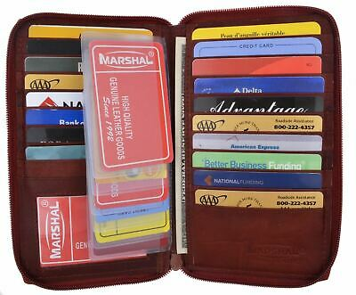 Genuine Leather Zipper Wallet Business & Credit Card Case Holder Bifold #729CF