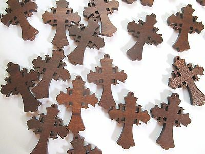 Wholesale Lot of 25 Small Wood Crosses, Very Pretty Details
