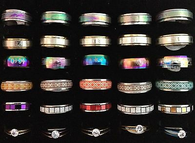 30x Colourful Stainless Steel Rings Mixed Sizes Ring Ladies Girls Womens 30pcs