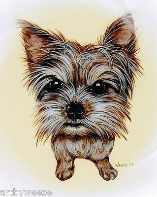 Yorkie Art Yorkshire Terrier Print Pet Portrait Dog Breed Painting Weeze Mace