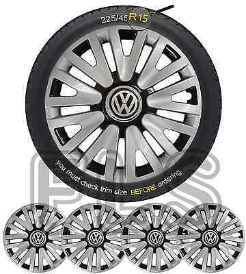 "Vw Badged 15"" Wheel Trims Hub Caps Covers Brand New Set Of 4 – Vw 1"