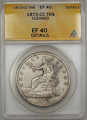 1873-CC Silver Trade Dollar $1 Coin ANACS EF-40 Details Cleaned PRX