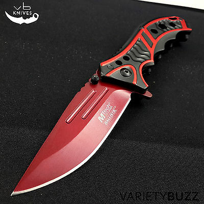 """MTECH USA 8.25"""" RED SPRING ASSISTED TACTICAL FOLDING POCKET KNIFE Assist Open"""