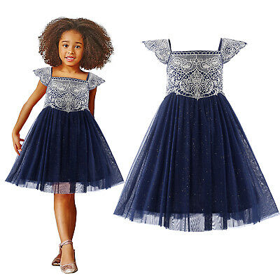 Flower Girl Navy Party Dress Embroidered Glitter Tulle Wedding Pageant Communion