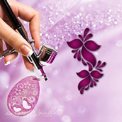 Airbrush Templates F252 NAILART Tendril Floral Flowers XL motif for jewelry