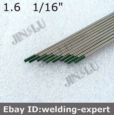 "Green Tip Pure Tungsten Electrode 1.6mm X 150mm 1/16"" X 6""  TIG Electrode 10PK"