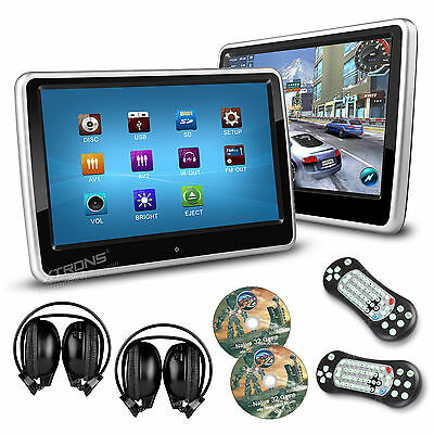 "2x 10.1"" CAR Headrest DVD CD Player GAME Touch Screen Dual Monitors Headphones"