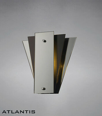 Stylish Art Deco Wall Light With Mirror and Black Glass Panels - Bargain Price