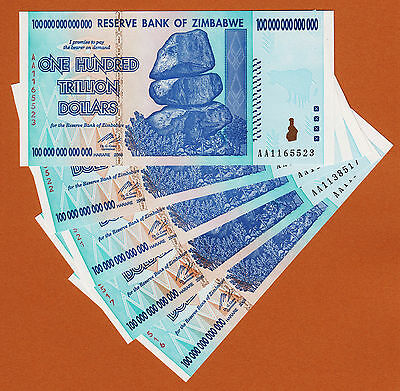 Zimbabwe 5 Pieces 100 TRILLION Dollars 100000000000000 AA- 2008 Pick-91 UNC