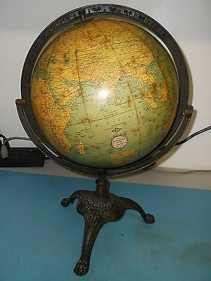 "Antique circa-1925 Hammond 12"" Diameter Globe on brass base"