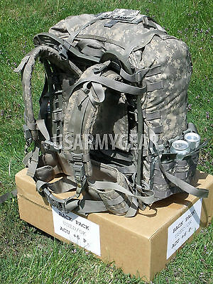 Loaded US Army ACU Ruck Sack Back Pack Frame Belt Straps + Hydration + 9 Pouch