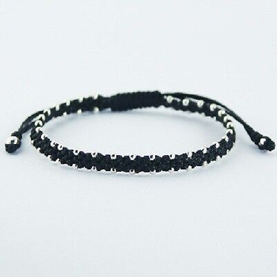 Handcrafted bracelet flat waxed black cotton macrame & 925 silver spheres  NEW