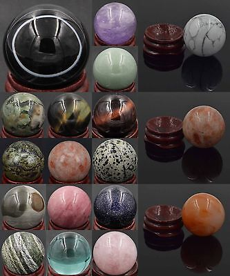 Wholesale Mixed Natural Stone Sphere Crystal Reiki Healing 30MM Ball W/Stand