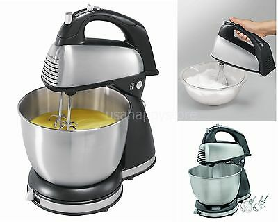 Hamilton Beach Electric Hand Stand Mixer 6 Speed Stainless Steel Bowl Kitchen