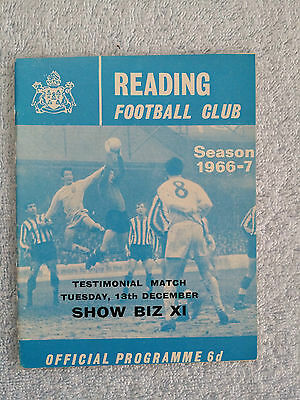 1966 - TESTIMONIAL FUND MATCH PROGRAMME - READING v SHOWBIZ XI