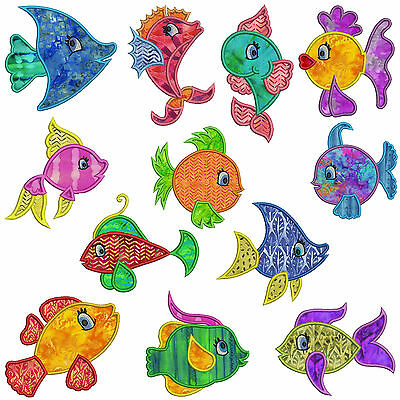 TROPICAL FISH * Machine Applique Embroidery Patterns * 12 Designs