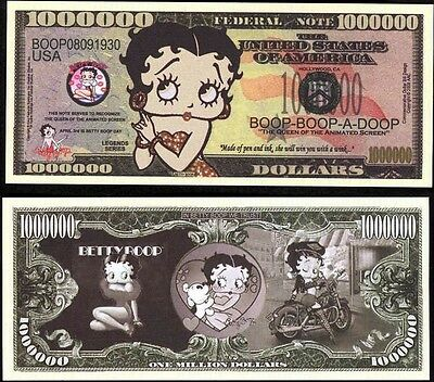 Betty Boop Million Dollar Novelty Bill Collectible  (Free Shipping)