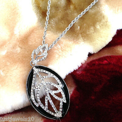 Necklace Silver Chain Leaf Crystal Vintage Jewellery Autumn Gift Filigree Black