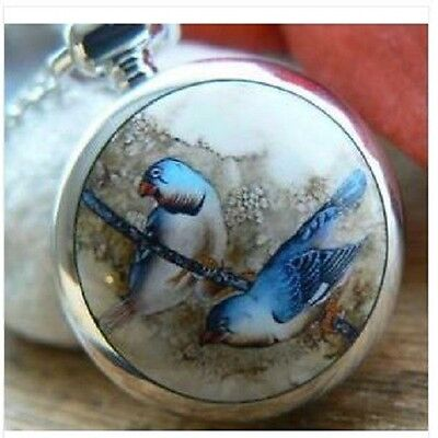 Unusual gift for her Pocket Watch Necklace Vintage Eastern Blue Birds Silver