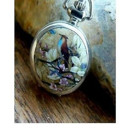 Unusual gift for her Pocket Watch Necklace Vintage Brazilian Bird Silver Chain