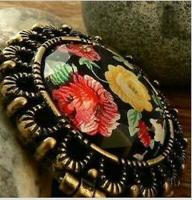 Black floral Locket Pill box Long Chain Pendant RETRO