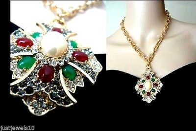 Dull Gold Victorian Art Deco Vintage Style Ruby Emerald Unusual Gift for her L1