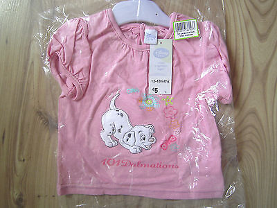 Disney 101 Dalmations Top T-Shirt Vest Pink 3-6-9-12-18 Month Baby Girls Exstore