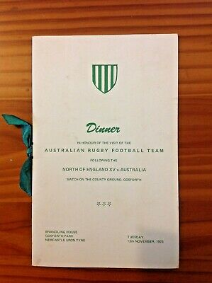 North of England v Australia 1973 Rugby Dinner Menu