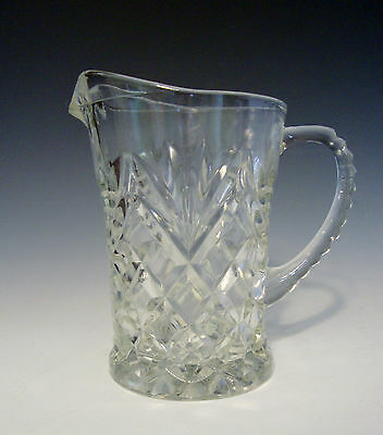 "Pineapple Crystal Clear Cut Glass Creamer/Small  Pitcher - 5""H and 5"" Spout/Hand"