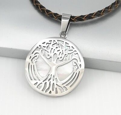 Silver Gold Celtic Tree Of Life Pendant Womens Men Black Leather Tribal Necklace