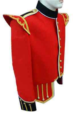 Piper & Drummer Doublet Red With Golden Braid & White Piping.