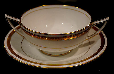 Minton Antique White And Gold #9816 Footed Cream Soup Bowl And Saucer