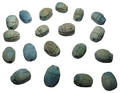 12 Egyptian Scarab Beetle HANDMADE Ceramic Stone Beads for Jewelry XS RARE (205)