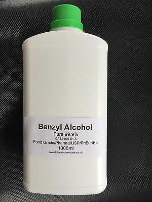 1000ml Benzyl Alcohol 99.9% Pure Food / Cosmetic Grade  FREE DELIVERY