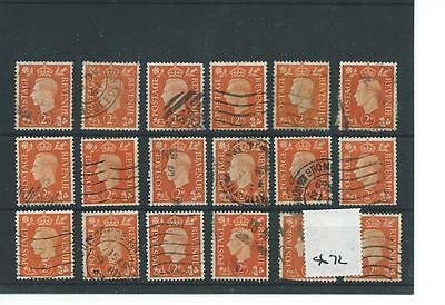 GEORGE V1 -G672- 1937- DEFINITIVES - 2d. x 18 copies - COMMERCIALLY USED
