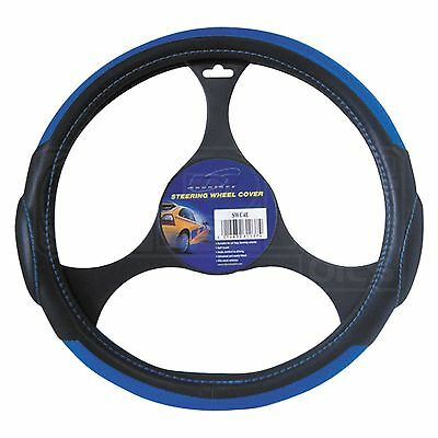 Steering Wheel Cover - SWC4E - Mountney - Black Leather / Blue