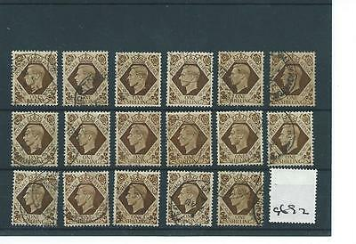 GEORGE V1 -G692- 1937- DEFINITIVES - 1/-d. x 17 copies  - FINE USED