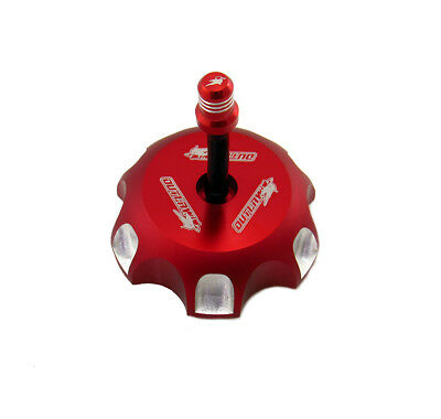 Outlaw 12081 Billet Anodized Gas Fuel Tank Cap With Vent Hose Red KX250/450F