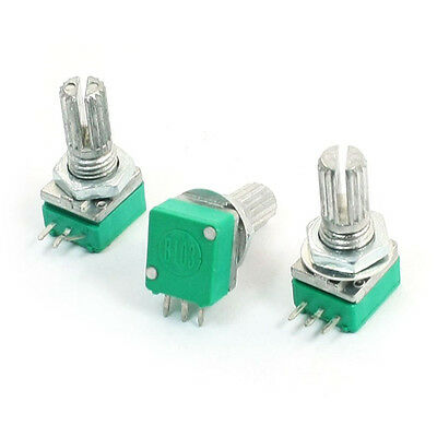 3pcs 6mm Knurled Shaft Single Linear B 10K ohm Rotary Potentiometer LW