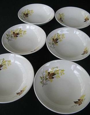 Vintage Retro Crown Lynn Autumn Splendour Cereal / Dessert Bowls - Set of Six