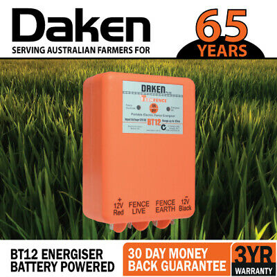 12km 12V VOLT BATTERY POWERED Electric Fence Energiser Energizer BT12 Farm Pet