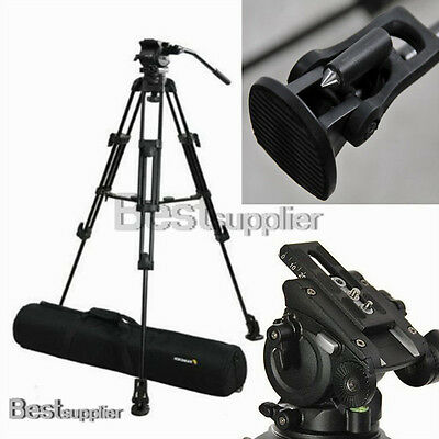 Professional Camera Heavy Duty DV Video Tripod Fluid Pan Kit w/ Handle Case New